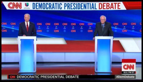 Joe Biden and Bernie Sanders at podiums
