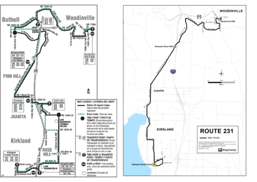 A comparison of the old Rt 238 and new Rt 231, more streamlined bus service on the North Eastside. (Photos: King County Metro)