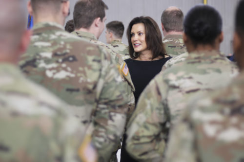 Gov. Whitmer meets Michigan Army National Guards