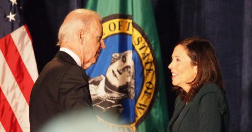 Joe Biden greets Maria Cantwell