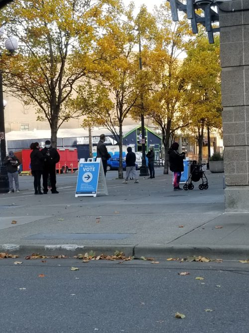 Voters in line outside of Vote Center