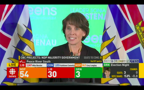 Sonia Furstenau speaks after snap election initial results released
