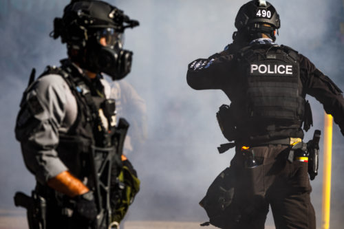 Seattle PD officers confront protesters, July 2021