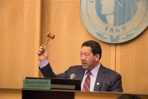 Harrell presides over a City Council meeting in 2019