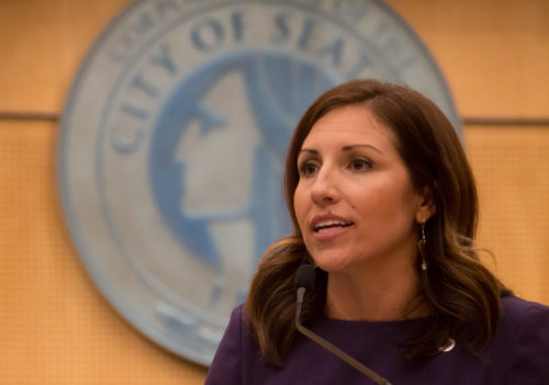 Councilwoman Teresa Mosqueda takes her oath of office in 2017