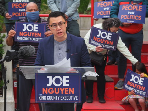 Joe Nguyen delivers his campaign kickoff speech