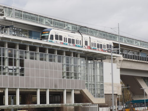 A test train at the new Northgate Link light rail station