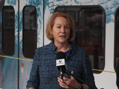 Seattle Mayor Jenny Durkan at a Sound Transit media event