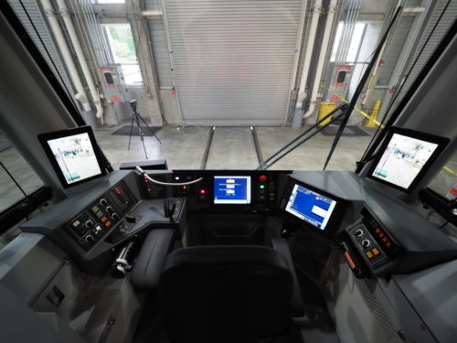 Inside the cab of a Siemens S700