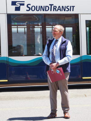 Sound Transit CEO Peter Rogoff in front of a Siemens S70