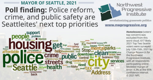 Supplementary word cloud from NPI's July 2021 survey of Seattle voters