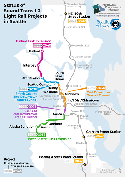 Map: Status of ST3 projects by NPI and Seattle Subway