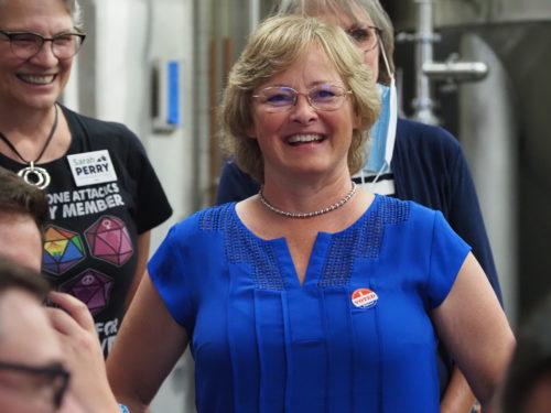 Sarah Perry celebrates on Election Night