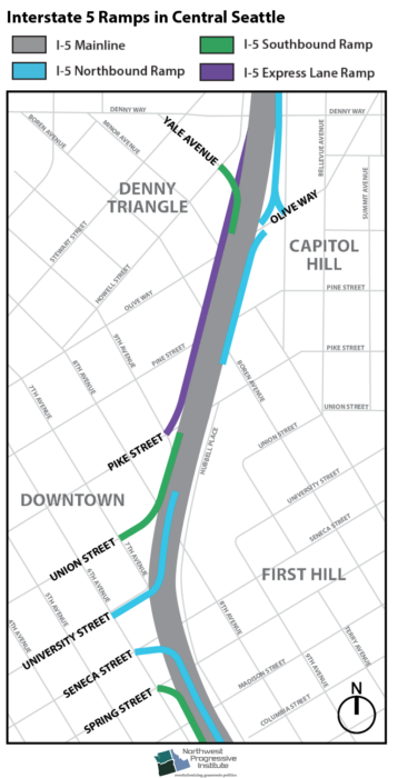 I-5 central city core ramps map