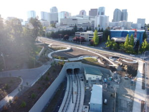 East Main Station, view one (East Link aerial tour)